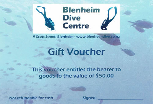 Sample Gift Voucher From Blenheim Dive Centre NZ